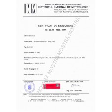 Metrological Calibration Certificate issued by BRML-INM, Bucharest for Alcohol Analyzers